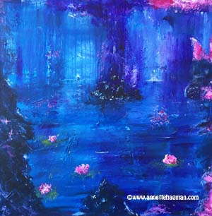Blue painting acrylic abstract love