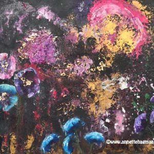 Målning abstrakt svart med blommor