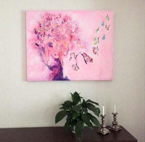 Målning In the stillness på vägg