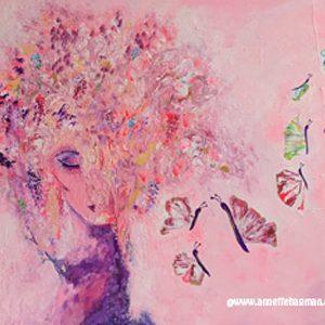 Målning akryl rosa halvabstrakt