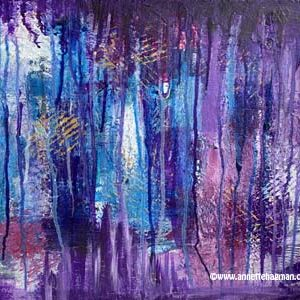 Målning abstrakt lila blå