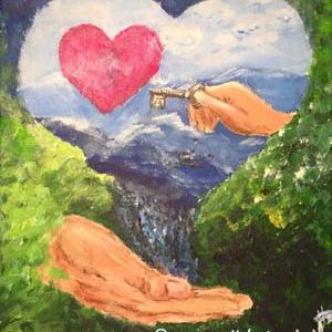 Målning Akryl hand nyckel hjärta