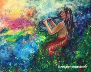 Painting native american plying colour in to the world with his flute