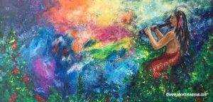 Painting native american playing the world in to colours with his fluit