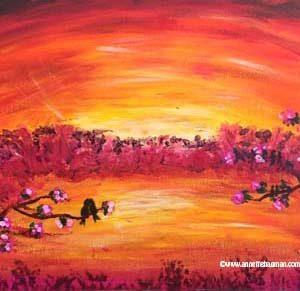 Bild på målning av fåglar på gren i solnedgång
