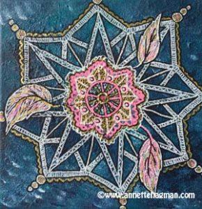 Målning turkos mandala
