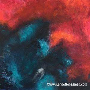 Målning abstrakt röd turkos