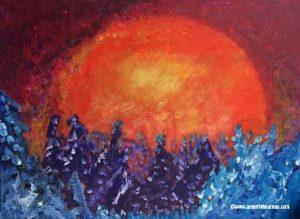 Målning halvabstrakt akryl blå, lila och orange
