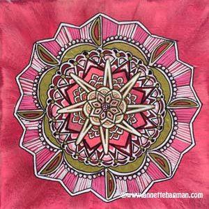 Målning mandala rosa